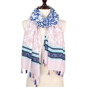 Accessories - Pink, blue and ivory scarf with tassels 🌸